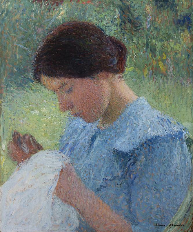 Henri MARTIN - Painting - Jeune femme cousant