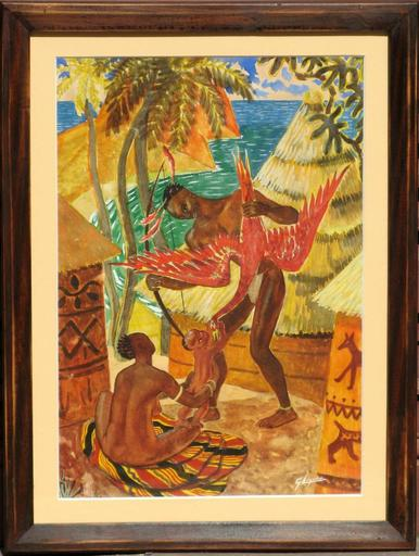 René Gaston LAGORRE - Drawing-Watercolor - RETOUR DE CHASSE EN AFRIQUE