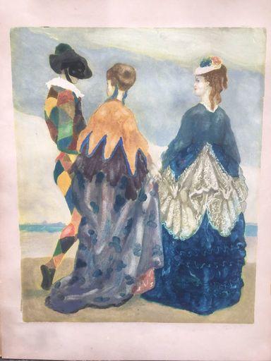 Romeo COSTETTI - Estampe-Multiple - Arlecchino e due dame