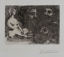 Pablo PICASSO - Estampe-Multiple - Seated Womand and Three Bearded Heads