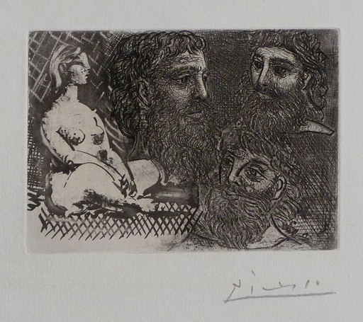 Pablo PICASSO - Stampa Multiplo - Seated Womand and Three Bearded Heads