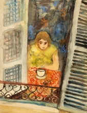 Issachar Ber RYBACK - Drawing-Watercolor - Woman at the Window