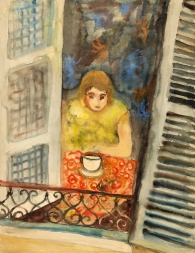 Issachar Ber RYBACK - Disegno Acquarello - Woman at the Window