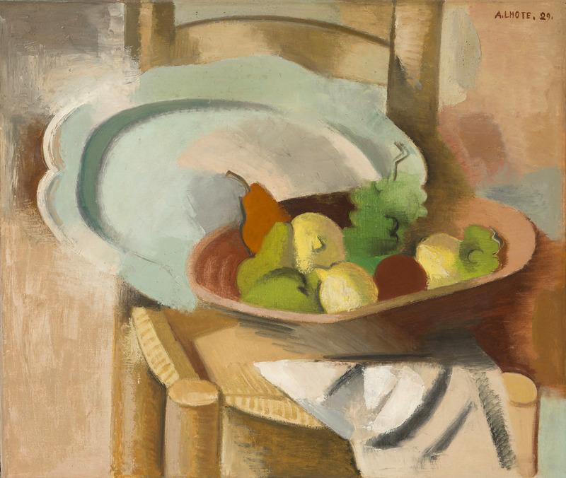 André LHOTE - Pittura - Corbeille de fruits et plat sur une chaise paillée