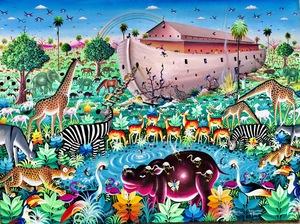 Roger DJIGUEMDÉ - Pittura - L'Arche de Noé