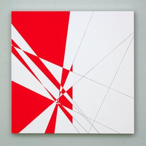 François MORELLET - Peinture - 10 lignes au hasard hybrides n°3
