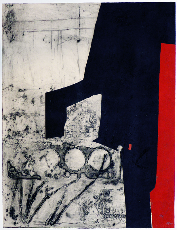 Antoni CLAVÉ - Estampe-Multiple - Instrument bande rouge