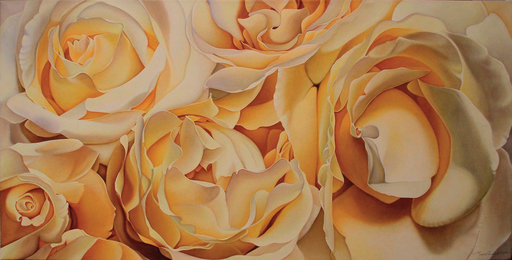 Annie BARDOULAT - Pittura - Roses crème 2