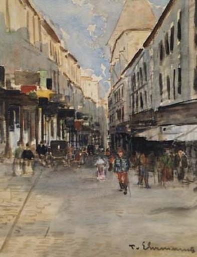 "Theodor VON EHRMANNS - Dessin-Aquarelle - ""In Budapest"" by Theodor von Ehrmanns, early 20th Century"