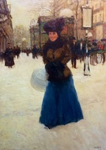 Victor GUERRIER (1893-1968) - Woman in a snowy street