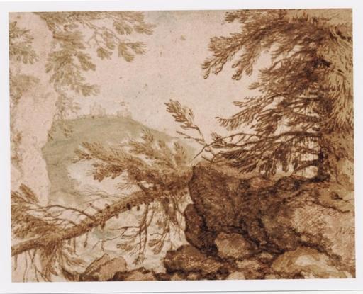 Allart VAN EVERDINGEN - Drawing-Watercolor - Paysage escarpé
