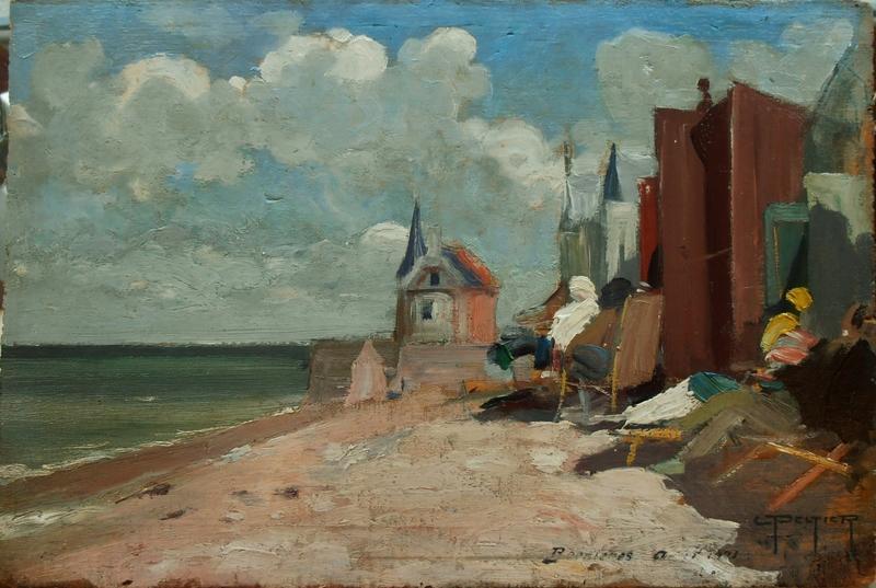 Louis PELTIER - Peinture - Scène de plage à Bernières en août