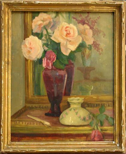 Germaine BASILIS - Pintura - NATURE MORTE AU BOUQUET DE ROSES
