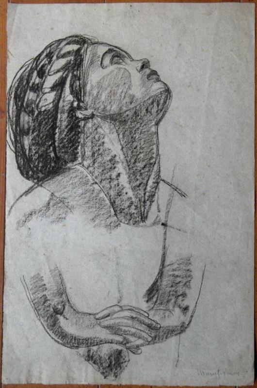MARCEL-LENOIR - Drawing-Watercolor - ETUDE DE TETE ET DE BRAS