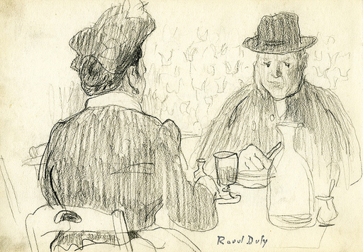 Raoul DUFY - Drawing-Watercolor - Personnages attablés