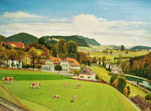 Adolf WYTTENBACH - Pintura - Village campagne Suisse canton de Berne