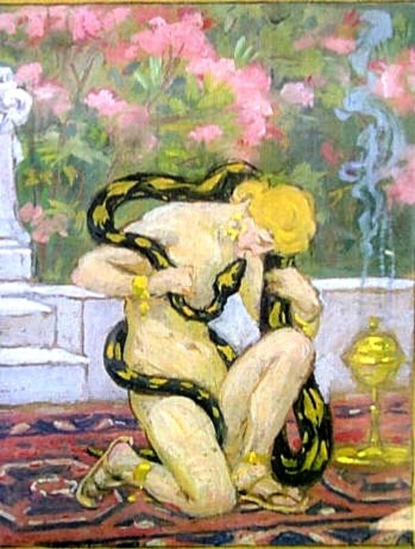 Nathalie GONTCHAROVA - Dibujo Acuarela - Femme au serpent