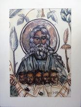 Tsuguharu FOUJITA - Pittura - God, the father and His children