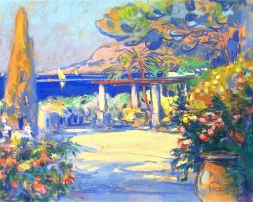 Louis FORTUNEY - Dibujo Acuarela - Garden on the French Riviera - Probably in Cagnes sur mer