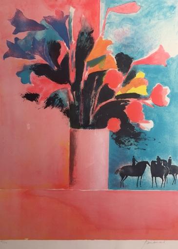 Paul GUIRAMAND - Estampe-Multiple - Vase de Fleurs et cavaliers