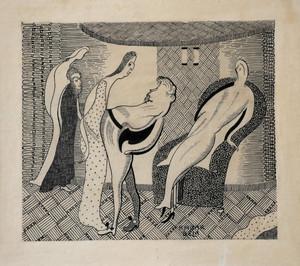 Béla KADAR - Drawing-Watercolor - 5 figures