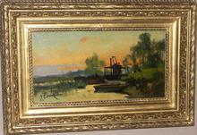 """Eugène GALIEN-LALOUE - Peinture - """"Coucher de soleil sur la rivière"""""""