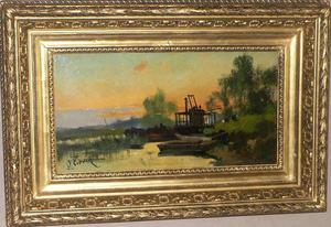 """Eugène GALIEN-LALOUE - Painting - """"Coucher de soleil sur la rivière"""""""
