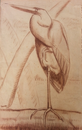 Marcel LEMAR - Zeichnung Aquarell - Le Héron