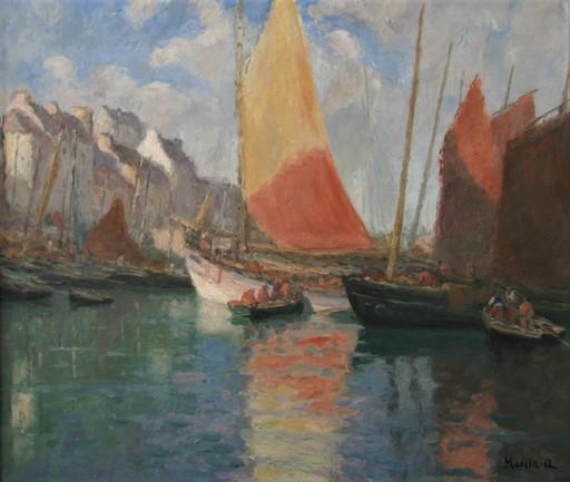 Alfred MARZIN - Pittura - Au port de Douarnenez