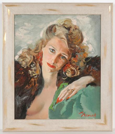 "Pierre Laurent BRENOT - Peinture - ""Portrait of Mme de Kerhoas"", oil on canvas"