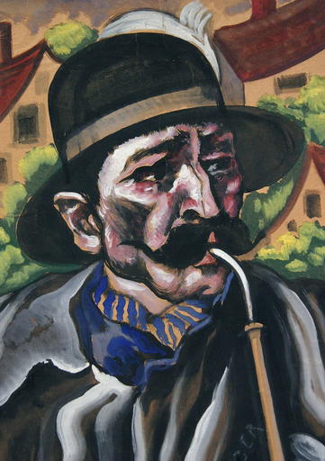 Hugo SCHEIBER - Painting - Portrait of a Man with a Pipe