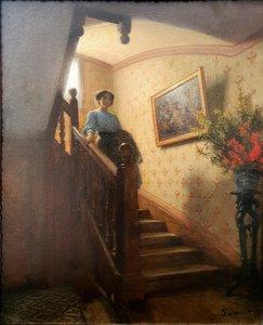 """Guillaume LARRUE - Painting - """"DAME DANS L'ESCALIER"""""""