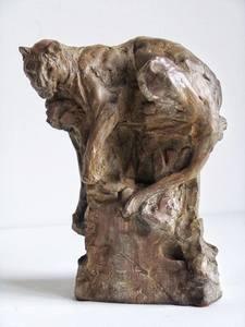 Patrick VILLAS - Sculpture-Volume - Petit léopard sur le rocher