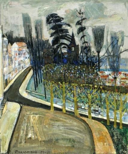 Joseph PRESSMANE - Painting - Town Square in Ecouen