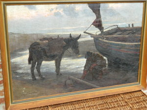 Edgard FARASYN - Painting - fishing boat on the coast with Dunkey and fischerman