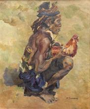 Willem DOOYEWAARD - Peinture - A Balinese man holding a fighting rooster