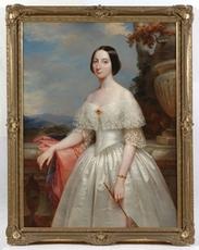"Benoît H. MOLIN - Painting - ""Maria Adelaida, First Wife of Victor Emanuel II"", 1848, Oil"