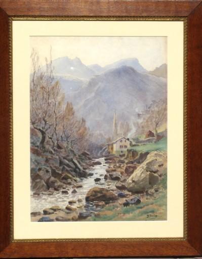 Edmond FONTAN - Drawing-Watercolor - LE MOULIN D'OLHA  A  LAXIA AU PAYS BASQUE
