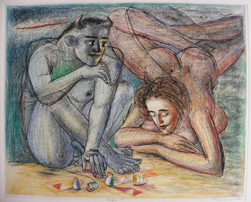 "Dhruva MISTRY - Dessin-Aquarelle - Couple n°13 - Hommage to Picasso ""Bathers on the beach"""