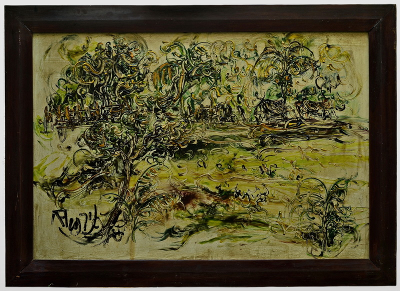AFFANDI - Painting - THE RUSTIC LAKESIDE