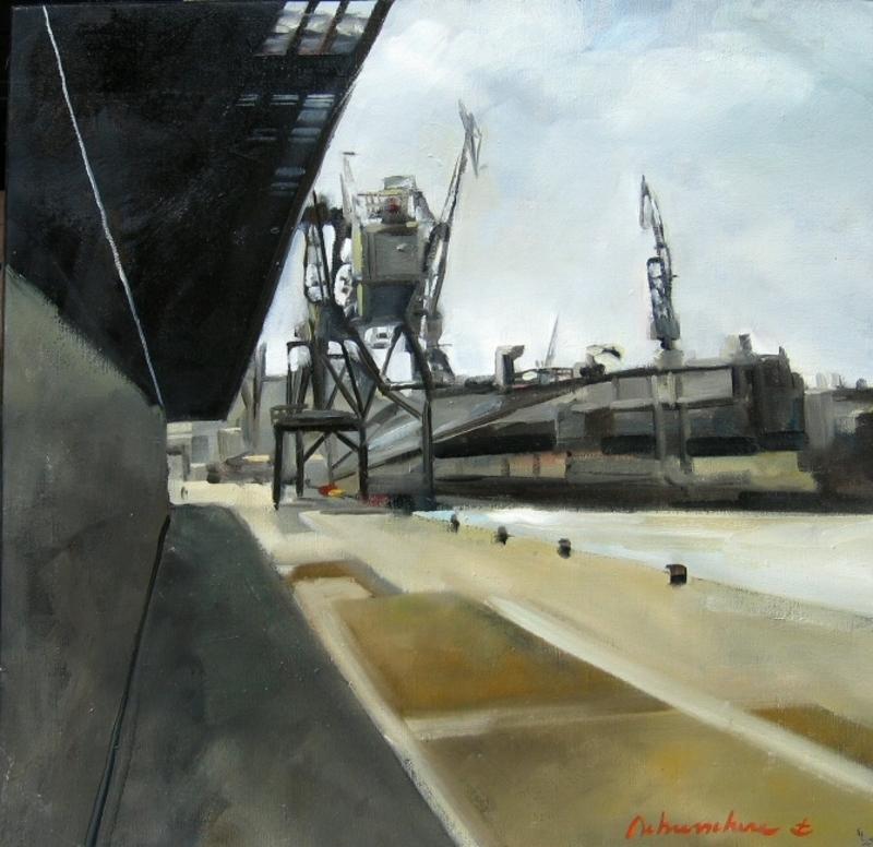Christoff DEBUSSCHERE - Peinture - Sur les quais, le port du Havre