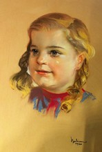 Anton BABION - Drawing-Watercolor - Kinderportrait Mädchen