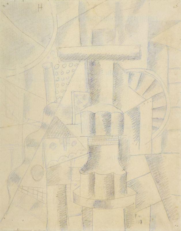 Fernand LÉGER - Dessin-Aquarelle - Composition Mécanique