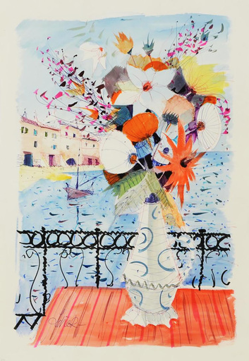 Charles LEVIER - Drawing-Watercolor - Signed watercolor and ink rendering of flowers on a balcony