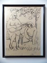 Jean SOUVERBIE - Dibujo Acuarela - FEMME A LA GUITARE