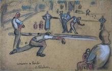 Auguste CHABAUD - Dibujo Acuarela - Concours de boules