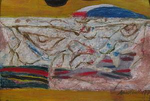 Arnold FIEDLER - 绘画 - Blumenvase auf rot.