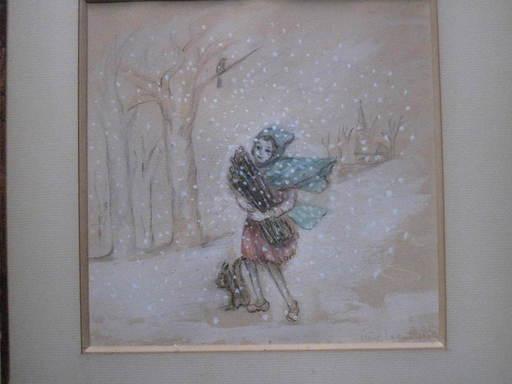 Irène LAGUT - Drawing-Watercolor - jeune fille dans la neige