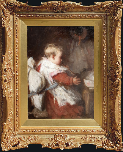 Robert Gemmell HUTCHISON - Peinture - Baby's Breakfast