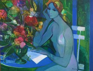 Camille HILAIRE - Pintura - Nu attablé